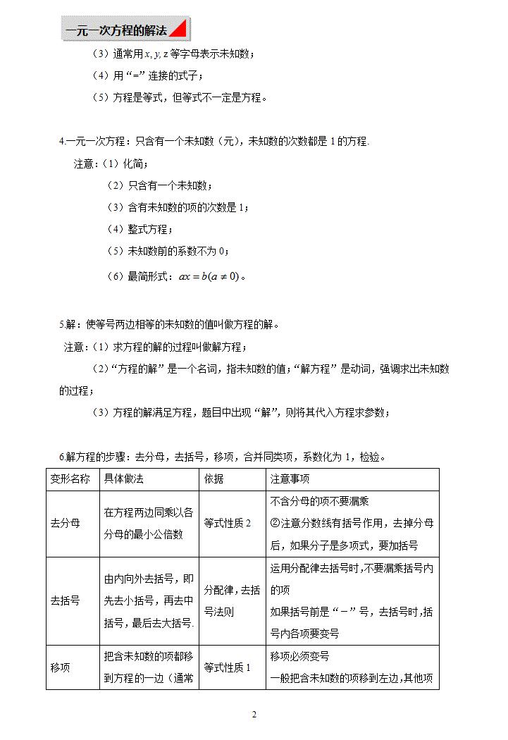 一元一次方程及其解法模板免费下载
