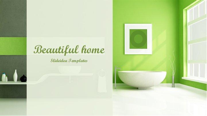 温馨绿色家居风格ppt模板模板免费下载