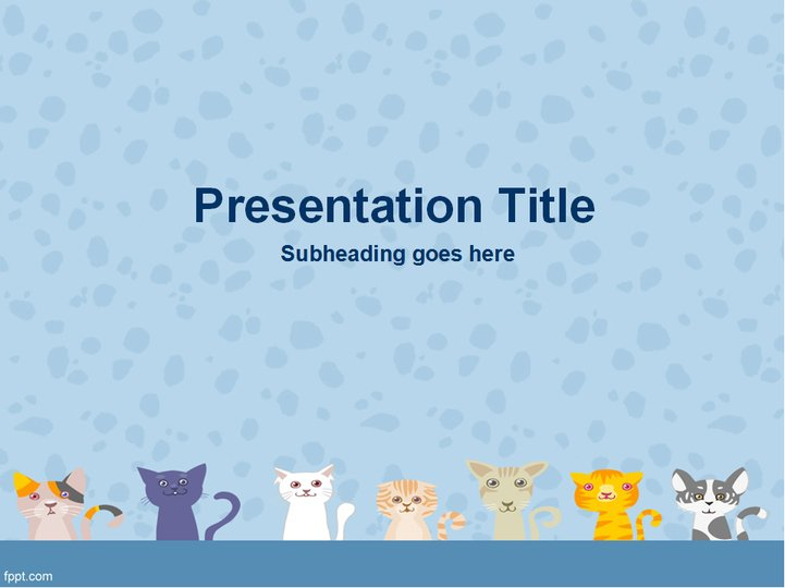蓝色可爱猫咪ppt模板模板免费下载