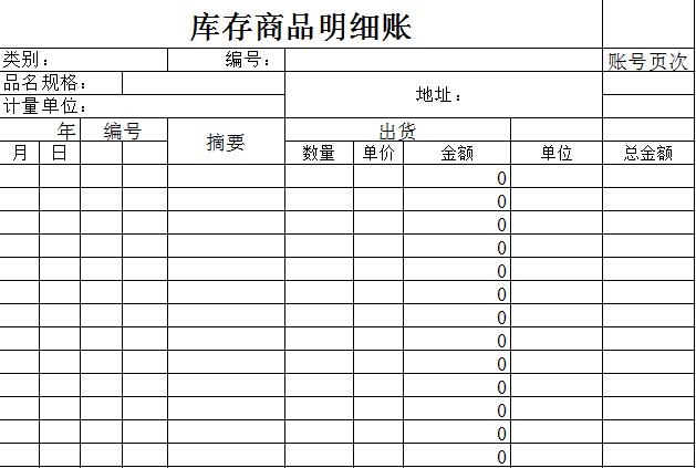 库存商品明细账模板免费下载_1