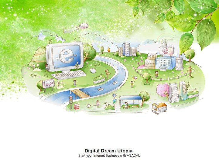 绿色手绘家园ppt模板免费下载