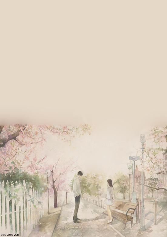 浪漫恋爱小信纸模板免费下载