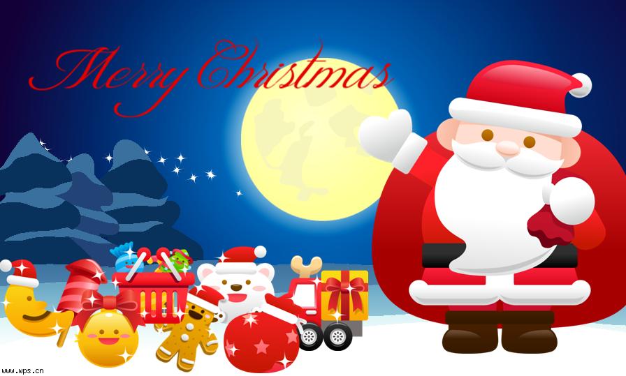 2011圣诞节ppt-月夜圣诞音乐贺卡模板免费下载