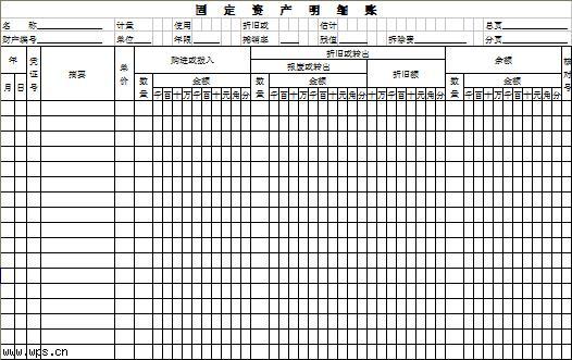 固定资产明细账模板模板免费下