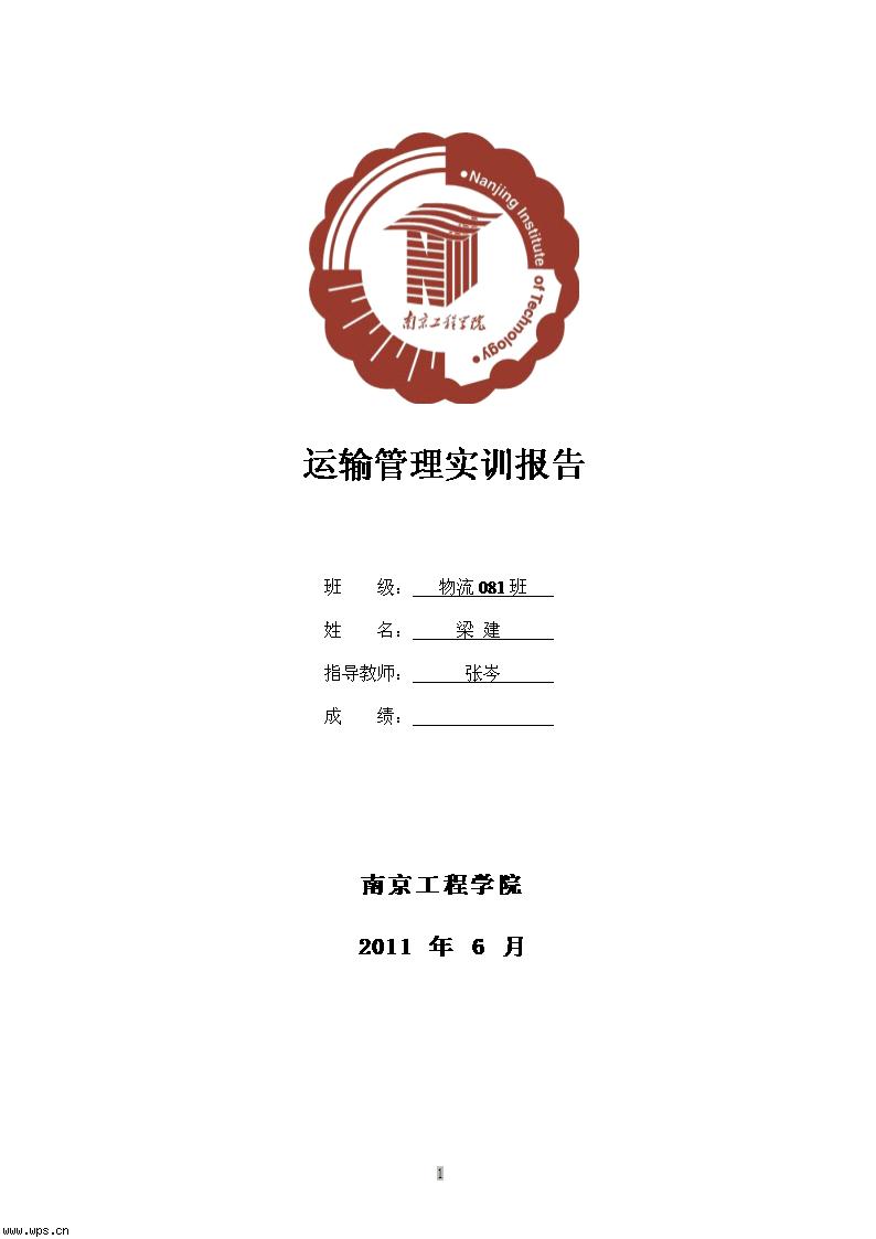 運輸實訓報告模板免費下載