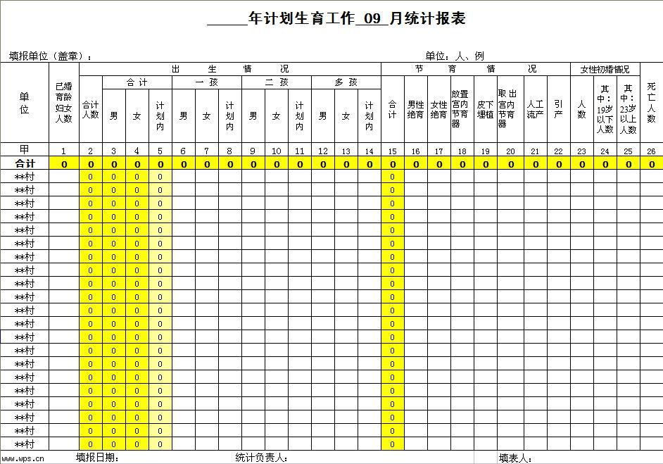 学习计划表格模板