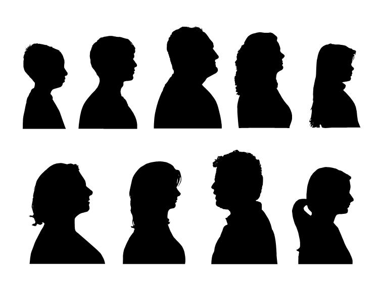 人物头像侧面镂空ppt素材模板免费下载