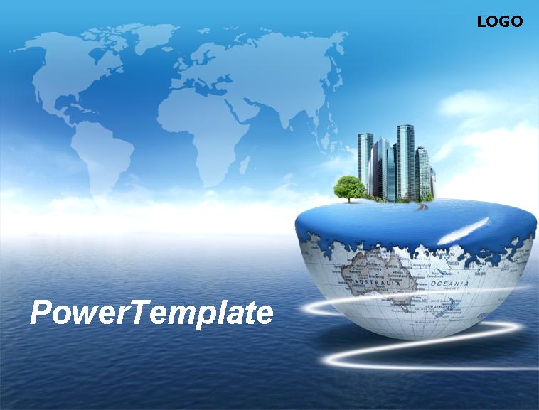 世界地图背景蓝色商务动态ppt模板模板免费下载