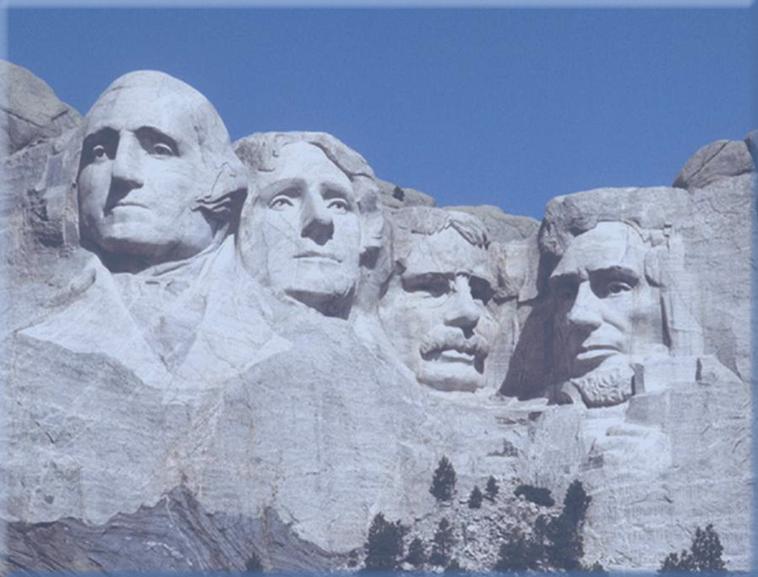 美国总统雕像ppt模板免费下载