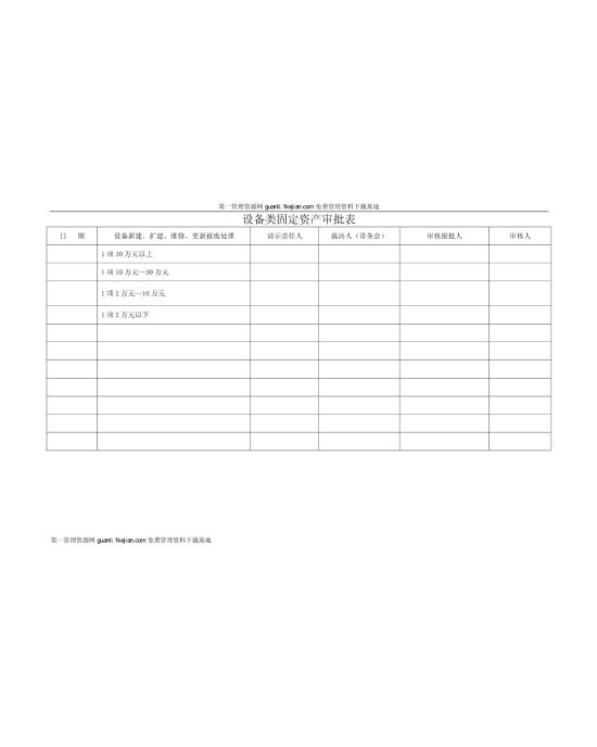 设备类固定资产审批表模板免费下载