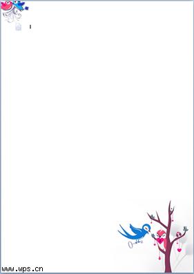 卡通鸟儿浪漫信纸模板免费下载