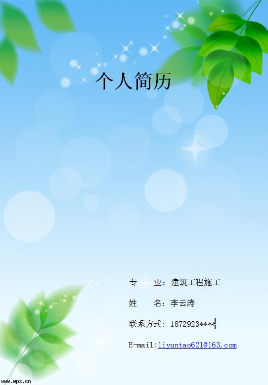 230号作品:李云涛个人简历模板免费下载_19487- wps图片