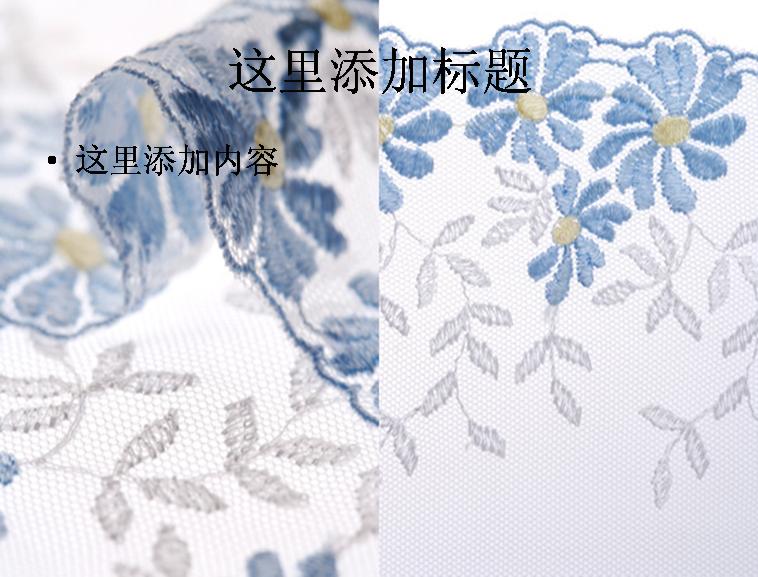 藍色紗簾花邊高清ppt(2p)生活素材